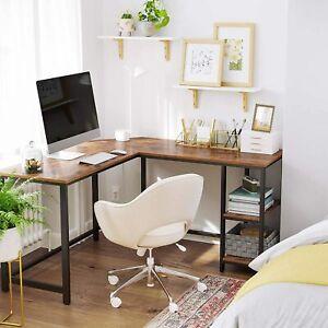 VASAGLE Vintage Corner Desk - Rustic Brown/Black