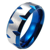 MENDINO Men's 316L Stainless Steel Ring Plated Faceted Edge Band Blue Silver 8mm