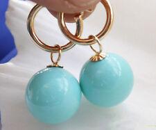 schönen 14mm türkisblauen Meer Shell Perle Hochzeit Partei Schmuck Ohrringe