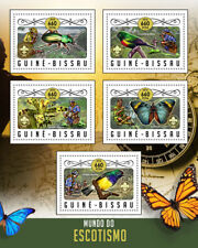 Guinea-Bissau 2016 MNH Scouting Birds Beetles Butterflies Flowers 5v M/S Stamps