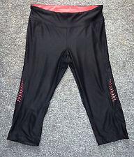 Black with neon pink sports yoga leggings athletic works size Medium