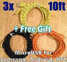 3x USB 10Ft 3M Braided MicroUSB Cable for Google Samsung HTC Charger LG +Gift