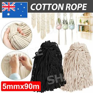5mm 90m Macrame Rope Natural Beige Cotton Twisted Cord Artisan Hand Craft AU