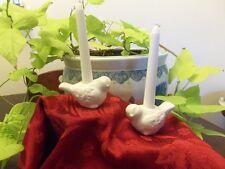 NIB Mud Pie White Bird Taper Holder (Set of 2) #4984022