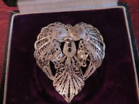 Hübsche 900 Silber Brosche Filigran Jugendstil Art Deco Pfau Engel Simon Maier ?