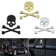 Chrome Black/Silver/Gold 3D Skull Bone Metal Car Emblem Badge Decals Sticker