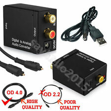 Digital Optical Toslink Coax to Analog L/R RCA Audio Converter Adapter +Cable LU