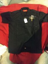 New Dickies Black Rat Fink Work Shirt with Pinstriping on back size Large