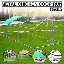 20x10 Ft Large Metal Chicken Coop Run Walk in Cage Poultry Rabbit Hen Dog House