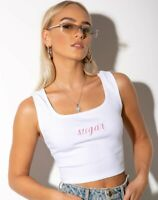 MOTEL ROCKS Landa White Crop Top with Pink Sugar Embro XS  (MR88)