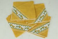 "Set of 4 Vintage Golden Yellow Linen(?) Fancy Napkins w/ Floral Trim - 10"" x 10"""