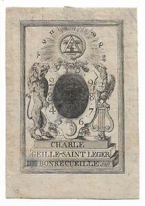 ANONYM: Exlibris für Charle Geille-Saint Leger de Bonrecueille (1753-1818)