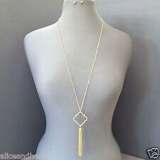 Long Antique Gold Chain Open Clover Designer Inspired Tassel Pendant Necklace