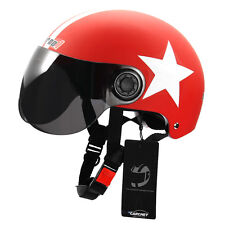 Halbschale Motorradhelm Chopper Helm Sonnenvisier Halb Star Muster Rot
