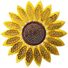 Sunflower Iron on patch  sequin sun flower head blossom happy embroidery patches