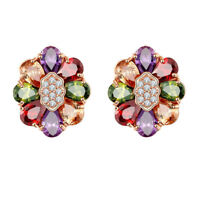 Flower Shape Cute Mix Color Morganite Gemstone Topaz Women Gifts Earrings 1 Pair