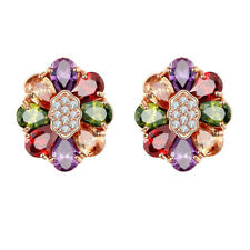 Flower Shape Cute Mix Color Morganite Gemstone Topaz Women Gifts Earrings 1 Pair