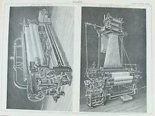 VECCHIO Antico Stampa Tessitura macchine Todd telaio meccanico controllo Jacquard c1880's