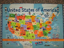 USA MAP FLAG COTTON FABRIC PANEL
