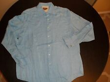 Michael Kors Blue Cotton French Cuff Button Front Shirt. (Men's) Size L