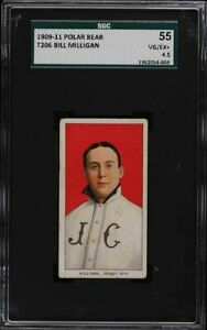 Rare 1909-11 T206 Bill Milligan Polar Bear Jersey City SGC 4.5 VG - EX +