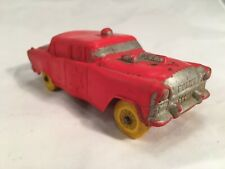 Vintage Rare Rubber Auburn Toy Co 1956 Ford Fairlane #576 Red Police Car Yellow