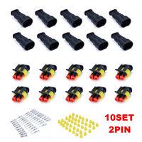 10 Kit 2 Broche Cosse Électrique Connecteur Fil Prise Fiche Etanche Voiture