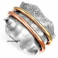 SOLID 925 STERLING SILVER COPPER BRASS MEDITATION SPINNER RING JEWELRY gs140