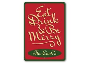 Be Merry Sign, Custom Eat Drink & Be Merry Christmas Sign,Family Name Metal Sign
