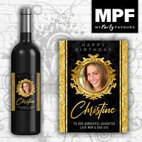 Personalised Birthday Wine Champagne Bottle Label 18th, 21st, 30th, 40th, 50th