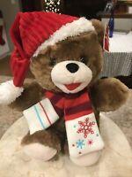 "Dan Dee Collector's choice Snowflake Teddy Bear Brown 13"" Hat Scarf NWT 2017"