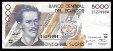 World Paper Money - Ecuador 5000 Sucres 1996 @ Vf
