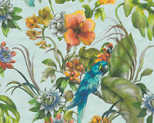 A.S.Creation Teal Parrots Contoured Vinyl Feature Wallpaper 30015-2
