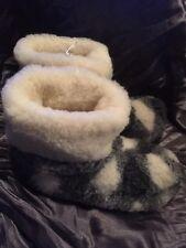 Unisex, Men's Or Women's Merino Wool Slipper Boots Square Pattern, Size 10
