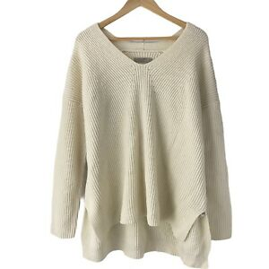 All Saints Clea Slouchy Cable Sweater Ivory White Size Medium Ribbed