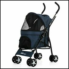 Pet Pushchair – Dog Puppy Cat Pram – Travel Buggy Stroller for Animals(Blue)