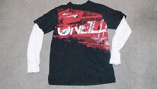 O'NEILL Black Long Sleeve Layered Sleeves Kids Size Medium T-Shirt