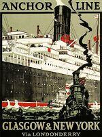 ART PRINT POSTER TRAVEL GLASGOW NEW YORK SHIP LINER ANCHOR TUG UK NOFL1324