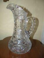 AMERICAN BRILLIANT CUT GLASS HEAVY FLORAL TANKARD PITCHER