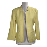 Ann Taylor Loft Womens Blazer Suit Jacket Coat 3/4 Sleeve Yellow Work Size Small