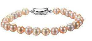 """7.5-8"""" 8-9mm natural south sea pink round pearl bracelet"""