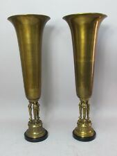 """Fine Pair of Large 24"""" MAITLAND SMITH Art Deco Brass & Marble Vases"""