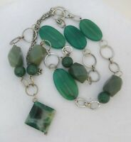 Long Chain Link Multi Green Gem Stone Statement Necklace Geometric Pendant 30 in
