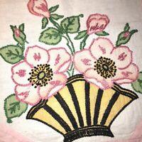 "Vintage Hand Embroidered Linen Doily Runner Pink Flower Basket on Cream 14""x19"""