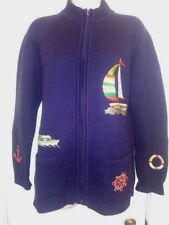 Vintage 60s Zip Front Cardigan Sweater Knitwear Sail Boat Yacht Nautical Theme L