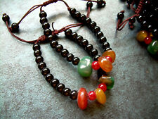 "Adjustable Bracelet Anklet Green Jade Red Agate Black & Red Glass Bead 6""- 9"" AA"
