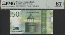 TT PK 53a 2017 NORWAY NORGES BANK 50 KRONER PMG 67 EPQ STUNNING SUPERB GEM UNC!