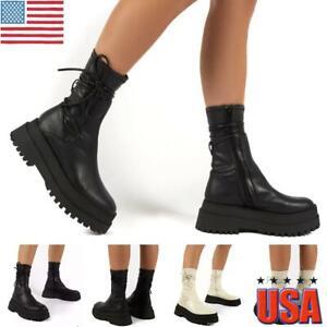 Women Punk Gothic Zipper Mid Calf Ankle Boots Ladies Platform Heel Chelsea Boots