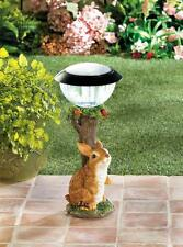 "bunny Rabbit outdoor 14"" tall statue lantern LED path SOLAR powered light lamp"