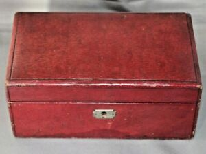 Vintage Leather Covered Wood Locking Jewellery Box with Key & Lift out Tray